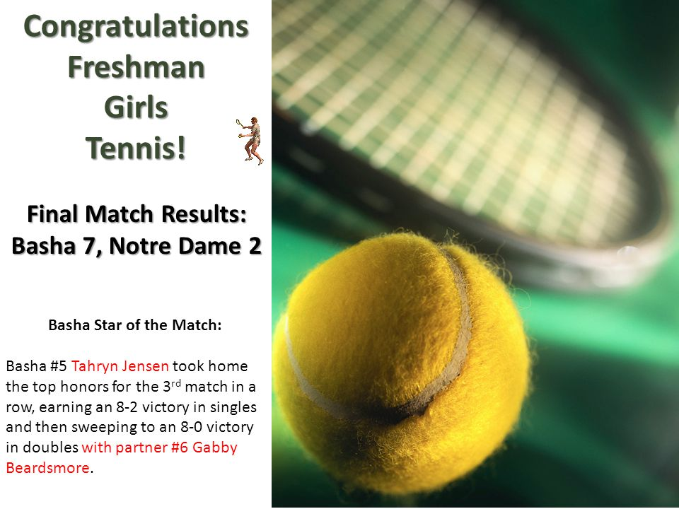 CongratulationsFreshmanGirlsTennis! Final Match Results: Basha 7, Notre Dame 2 Basha Star of the Match: Basha #5 Tahryn Jensen took home the top honor
