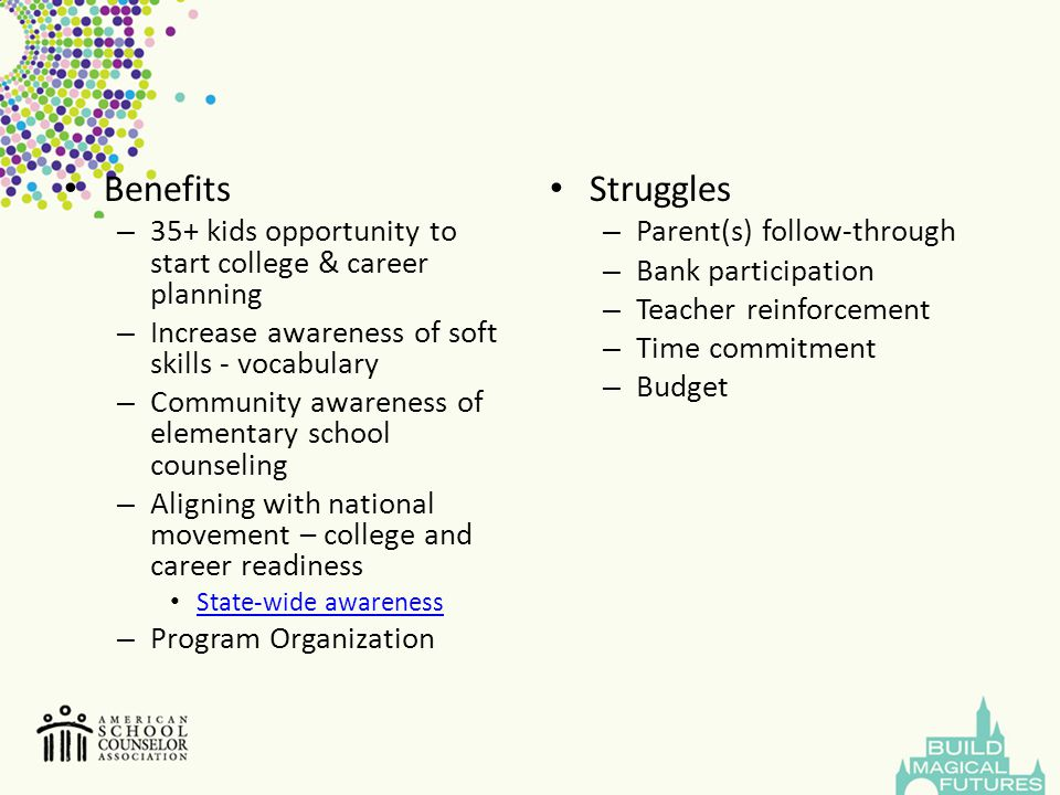 Benefits – 35+ kids opportunity to start college & career planning – Increase awareness of soft skills - vocabulary – Community awareness of elementar