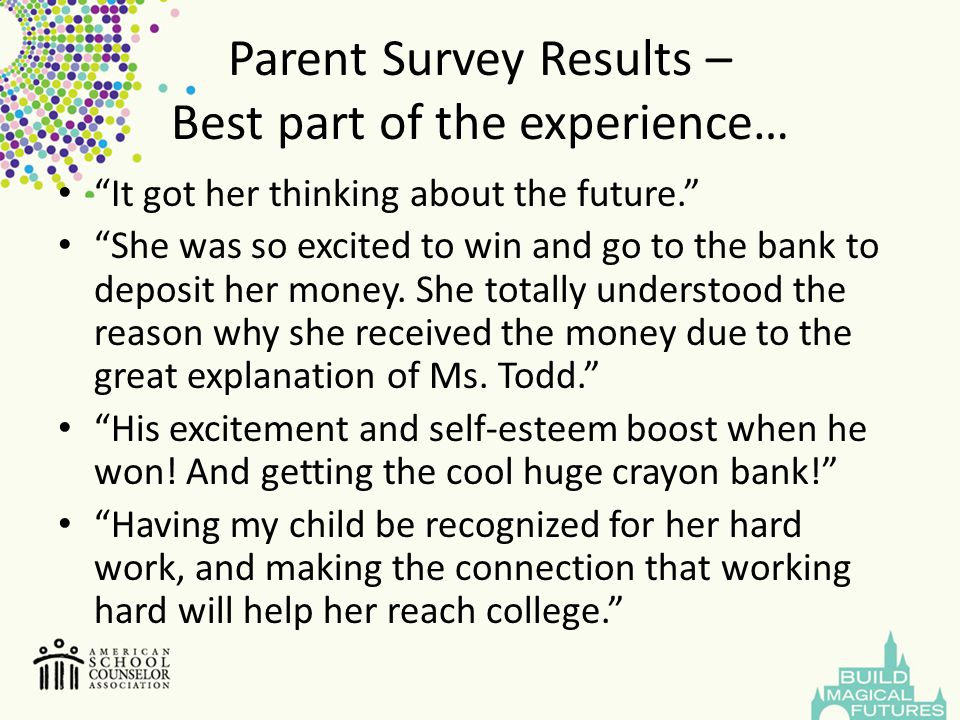 """Parent Survey Results – Best part of the experience… """"It got her thinking about the future."""" """"She was so excited to win and go to the bank to deposit"""