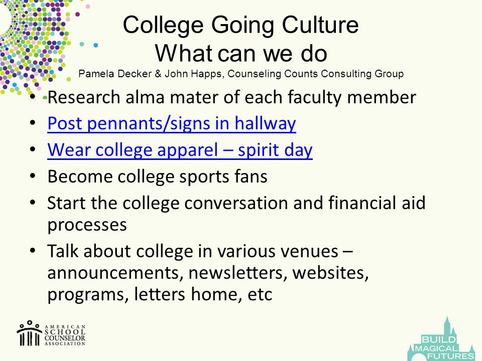 College Going Culture What can we do Pamela Decker & John Happs, Counseling Counts Consulting Group Research alma mater of each faculty member Post pe