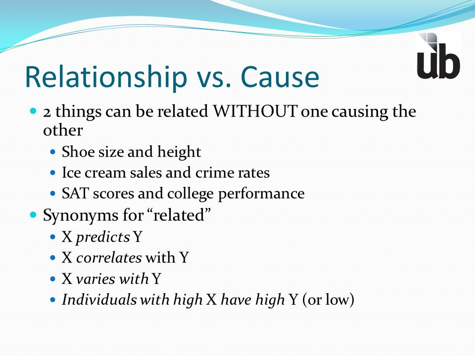 Relationship vs. Cause 2 things can be related WITHOUT one causing the other Shoe size and height Ice cream sales and crime rates SAT scores and colle