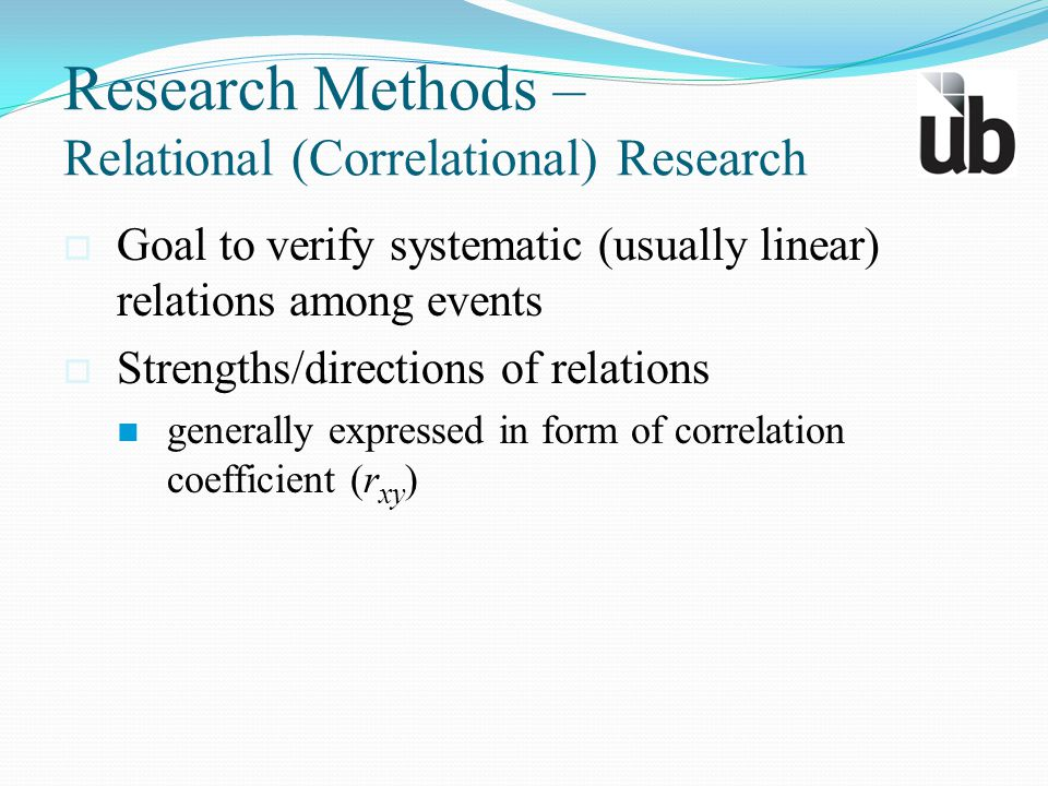 Research Methods – Relational (Correlational) Research  Goal to verify systematic (usually linear) relations among events  Strengths/directions of r