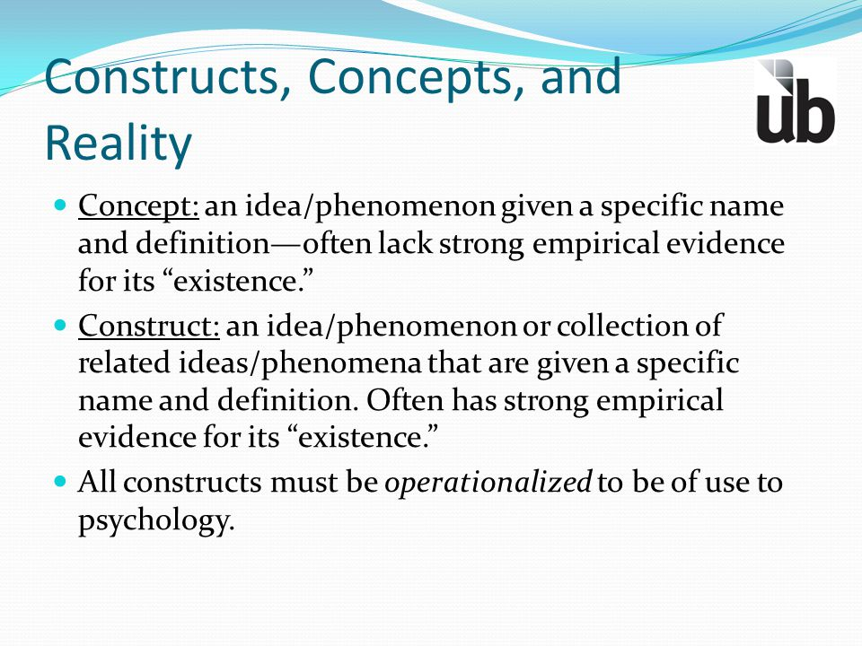 """Constructs, Concepts, and Reality Concept: an idea/phenomenon given a specific name and definition—often lack strong empirical evidence for its """"exist"""