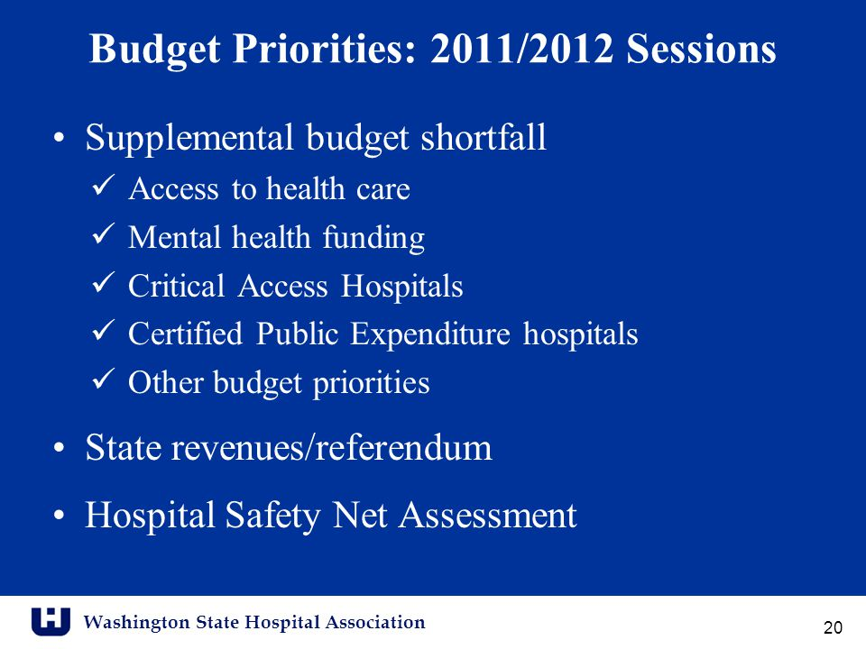 Washington State Hospital Association Budget Priorities: 2011/2012 Sessions Supplemental budget shortfall Access to health care Mental health funding Critical Access Hospitals Certified Public Expenditure hospitals Other budget priorities State revenues/referendum Hospital Safety Net Assessment 20