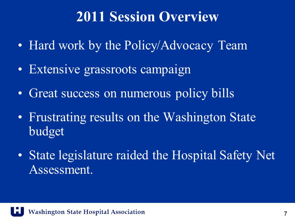 Washington State Hospital Association 88 Policy Priorities