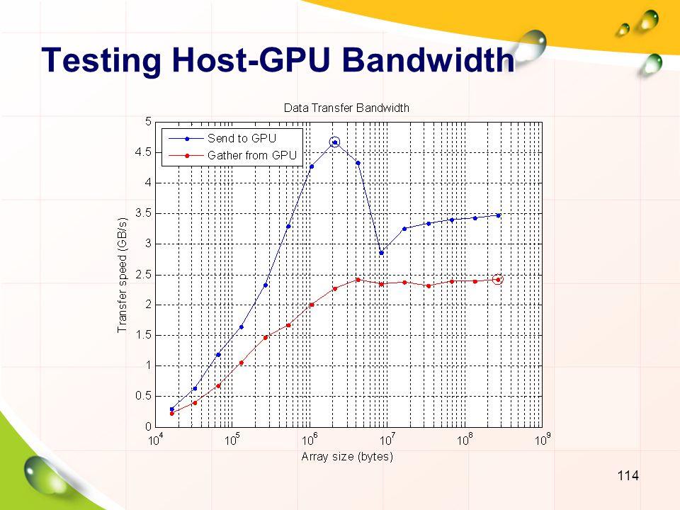 Testing CPU Bandwidth 115 sizeOfDouble = 8; sizes = power(2, 14:28); memoryTimesHost = inf(size(sizes)); for i=1:numel(sizes) numElements = sizes(i)/sizeOfDouble; hostData = randi([0 9], numElements, 1); plusFcn = @()plus(hostData, 1.0); memoryTimesHost(i) = timeit(plusFcn); end memoryBandwidthHost = 2*(sizes./memoryTimesHost)/1e9; [maxBWHost, maxBWIdxHost] = max(memoryBandwidthHost);
