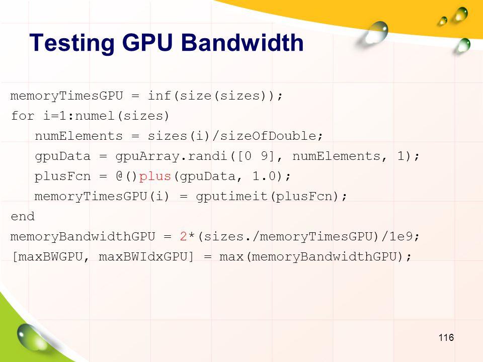 Bandwidth: CPU vs. GPU 117