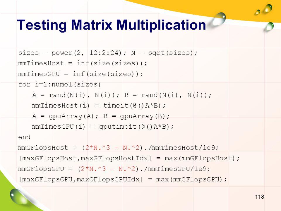 Testing Matrix Multiplication 119