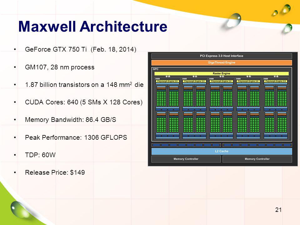 CUDA Teaching Lab 22 GTX 750 (GM107) Compute Capability: 5.0 512 CUDA Cores 1GB, 128-bit GDDR5 80 GB/S 1044 GFLOPS TDP: 55W RMB 799 GT 630 (GK208) Compute Capability: 3.5 384 CUDA Cores 2GB, 64-bit GDDR3 14.4 GB/S 692.7 GFLOPS TDP: 25W RMB 419