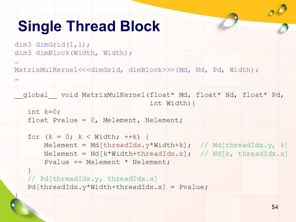Single Thread Block What is the maximum size of the matrix.