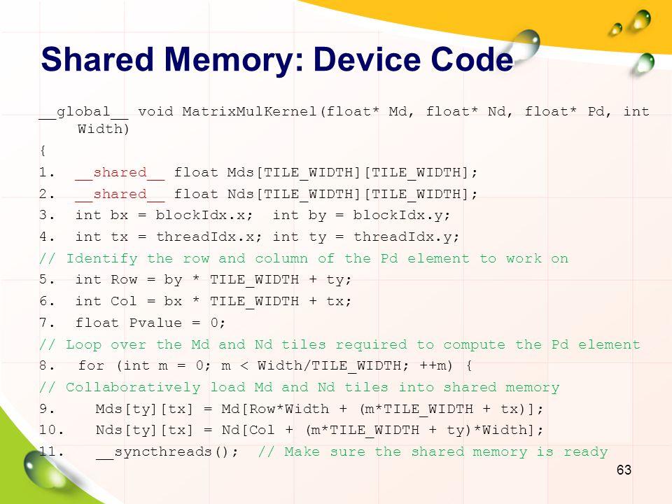 Shared Memory: Device Code 64 12.for (int k = 0; k < TILE_WIDTH; ++k) 13.
