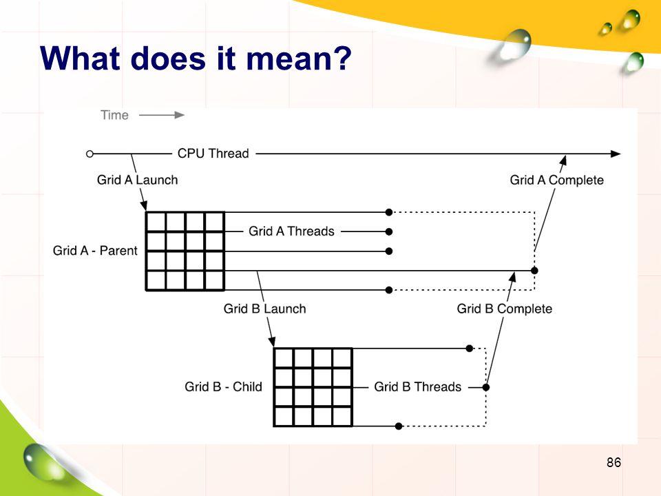 Example __global__ ChildKernel(void* data){ //Operate on data } __global__ ParentKernel(void *data){ ChildKernel >>(data); } // In Host Code ParentKernel >(data); 87 __global__ RecursiveKernel(void*data){ if(continueRecursion == true) RecursiveKernel >>(data); }