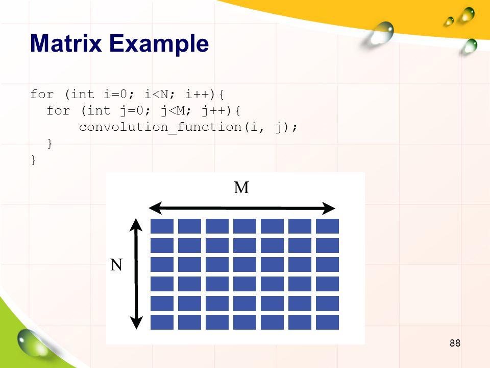 Matrix Example 89 for (int i=0; i<N; i++){ for (int j=0; j<M[i]; j++){ convolution_function(i,j); } Oversubscription