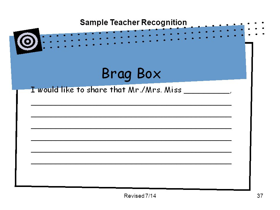Revised 7/1437 Sample Teacher Recognition