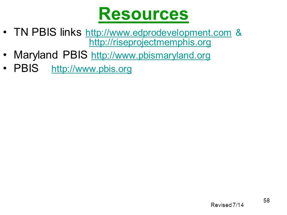 58 Resources TN PBIS links http://www.edprodevelopment.com & http://riseprojectmemphis.org Maryland PBIS http://www.pbismaryland.org http://www.pbisma