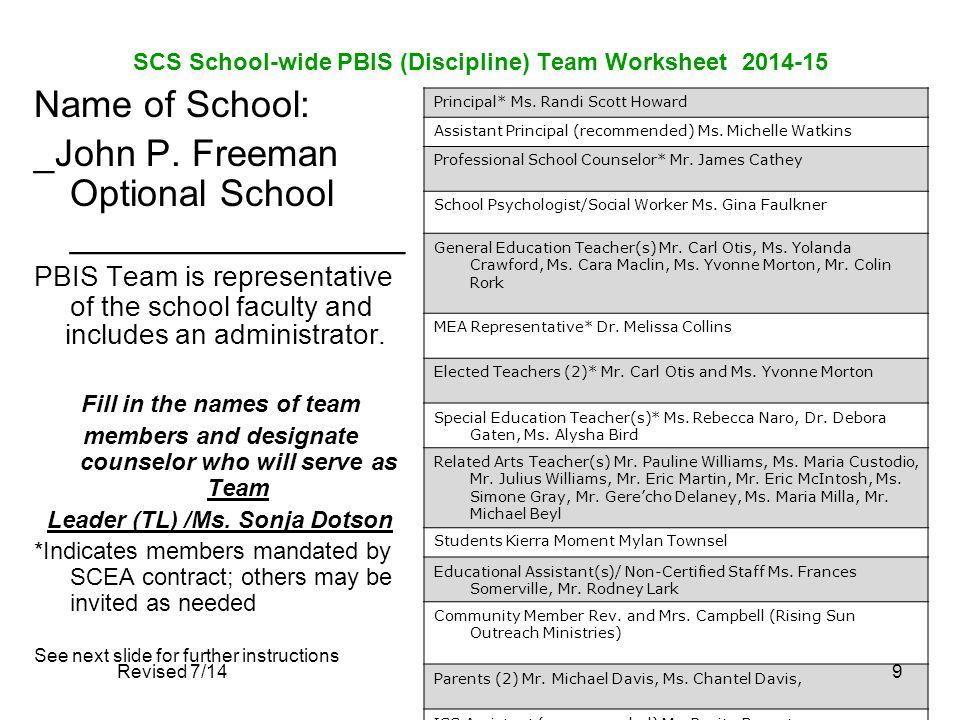 SCS School-wide PBIS (Discipline) Team Worksheet 2014-15 Name of School: _John P. Freeman Optional School ________________ PBIS Team is representative