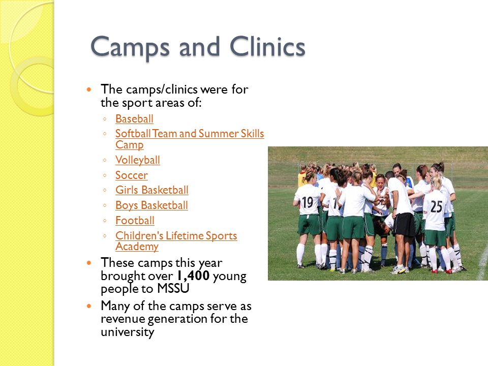 Camps and Clinics Camps and Clinics The camps/clinics were for the sport areas of: ◦ Baseball Baseball ◦ Softball Team and Summer Skills Camp Softball Team and Summer Skills Camp ◦ Volleyball Volleyball ◦ Soccer Soccer ◦ Girls Basketball Girls Basketball ◦ Boys Basketball Boys Basketball ◦ Football Football ◦ Children s Lifetime Sports Academy Children s Lifetime Sports Academy These camps this year brought over 1,400 young people to MSSU Many of the camps serve as revenue generation for the university