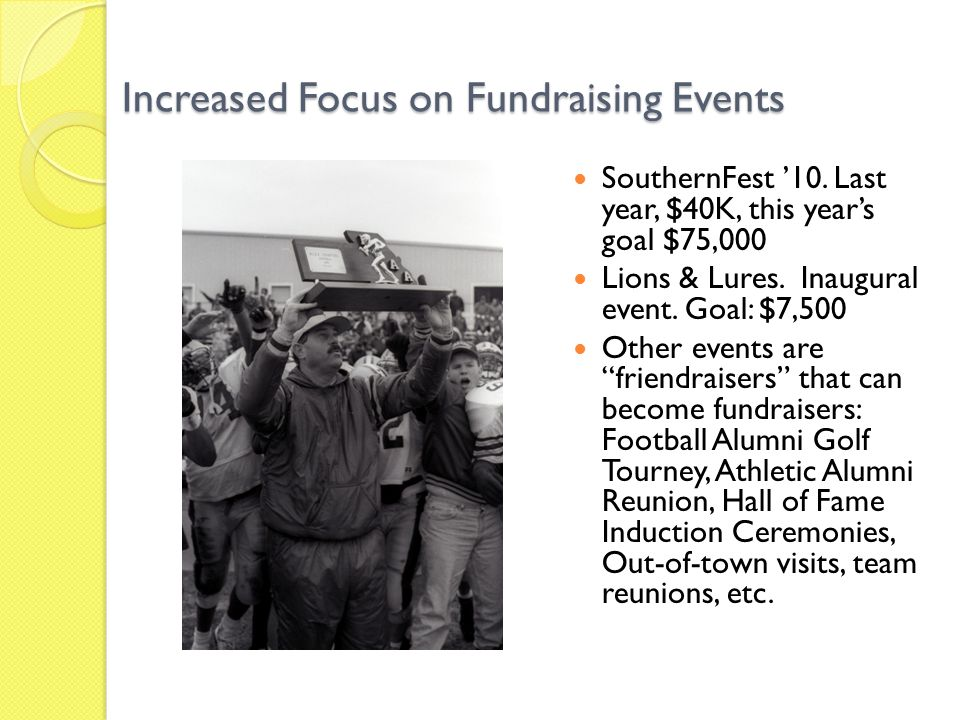 Increased Focus on Fundraising Events SouthernFest '10.