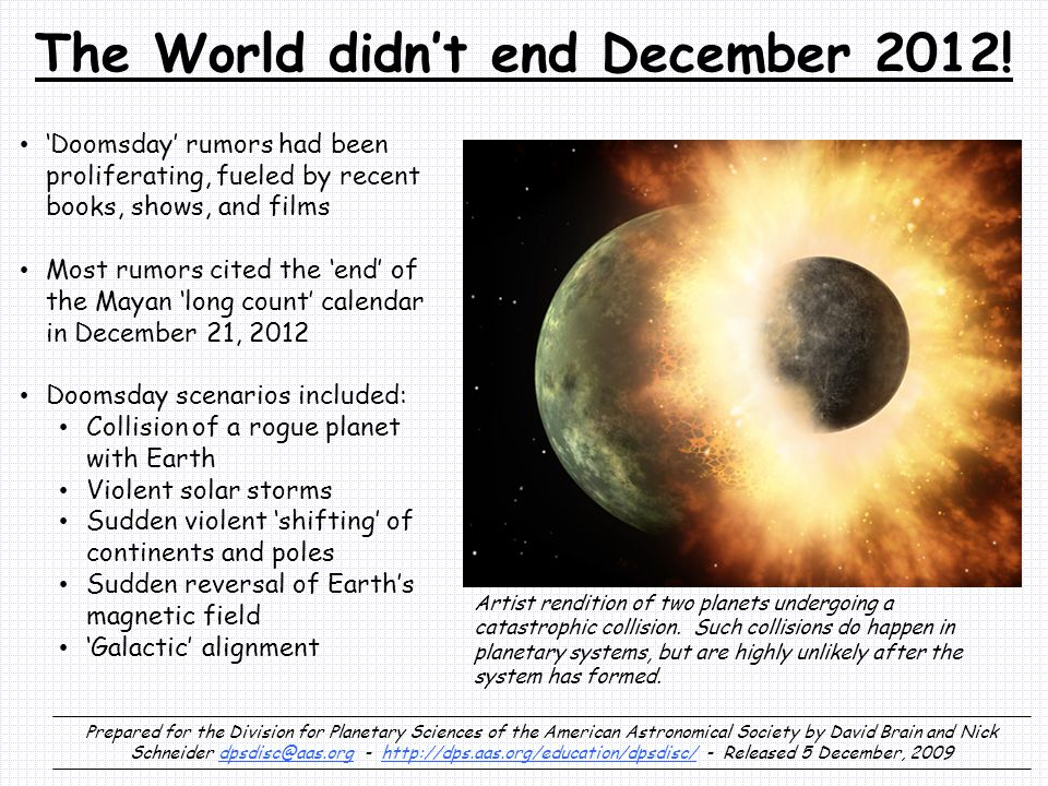 The World didn't end December 2012.