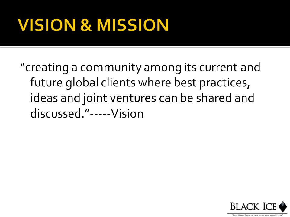 creating a community among its current and future global clients where best practices, ideas and joint ventures can be shared and discussed. -----Vision