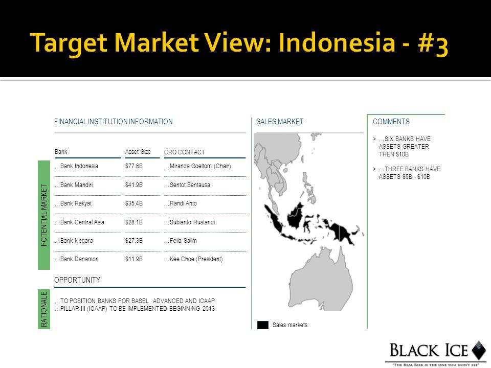 SALES MARKETFINANCIAL INSTITUTION INFORMATION BankAsset Size CRO CONTACT …Bank Indonesia$77.6B…Miranda Goeltom (Chair) POTENTIAL MARKET RATIONALE Sales markets OPPORTUNITY >…SIX BANKS HAVE ASSETS GREATER THEN $10B >…THREE BANKS HAVE ASSETS $5B - $10B COMMENTS …Bank Mandiri$41.9B…Sentot Sentausa …Bank Rakyat$35.4B…Randi Anto …Bank Central Asia$28.1B…Subianto Rustandi …Bank Negara$27.3B…Felia Salim …Bank Danamon$11.9B…Kee Choe (President) …TO POSITION BANKS FOR BASEL ADVANCED AND ICAAP …PILLAR III (ICAAP) TO BE IMPLEMENTED BEGINNING 2013