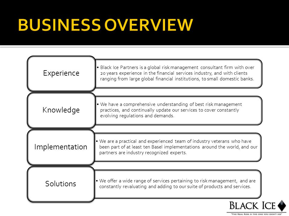 Black Ice Partners is a global risk management consultant firm with over 20 years experience in the financial services industry, and with clients rang