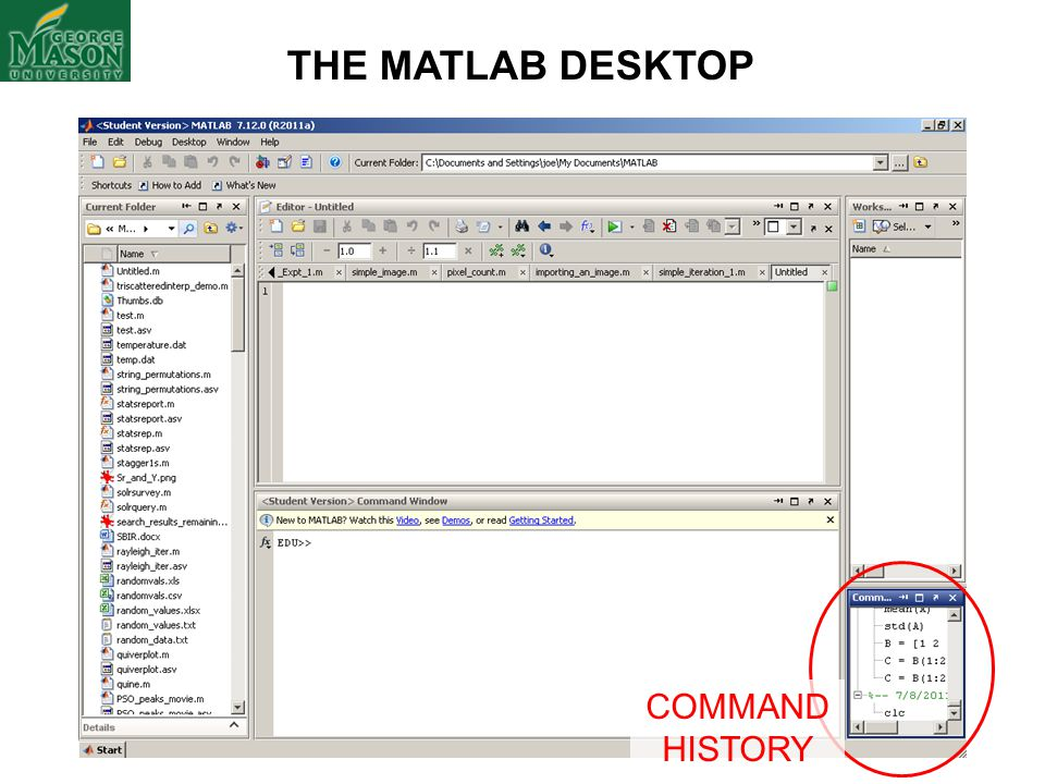 THE MATLAB DESKTOP COMMAND HISTORY