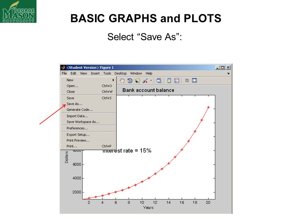 "Select ""Save As"": BASIC GRAPHS and PLOTS"