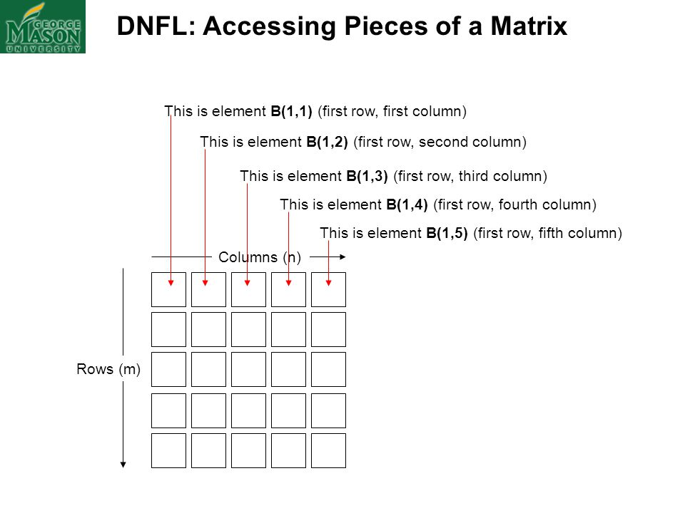DNFL: Accessing Pieces of a Matrix Columns (n) Rows (m) This is element B(1,1) (first row, first column) This is element B(1,2) (first row, second col