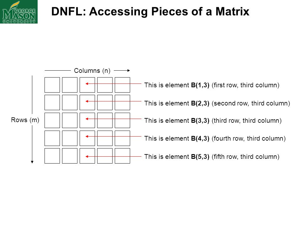 DNFL: Accessing Pieces of a Matrix Columns (n) Rows (m) This is element B(1,3) (first row, third column) This is element B(2,3) (second row, third col