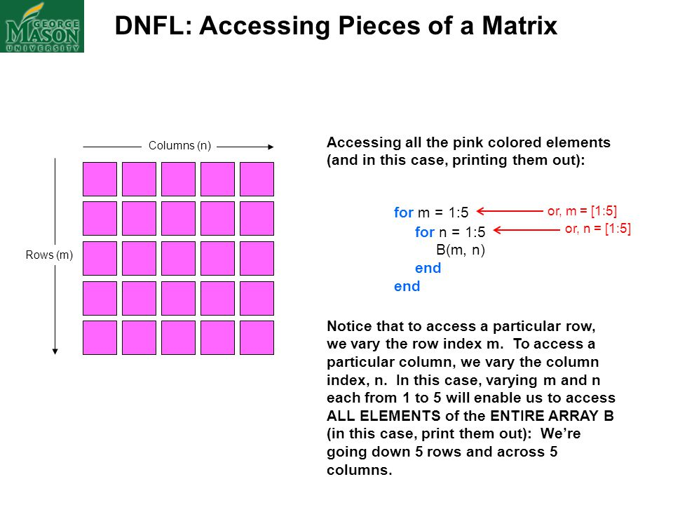 DNFL: Accessing Pieces of a Matrix Columns (n) Rows (m) Accessing all the pink colored elements (and in this case, printing them out): for m = 1:5 for
