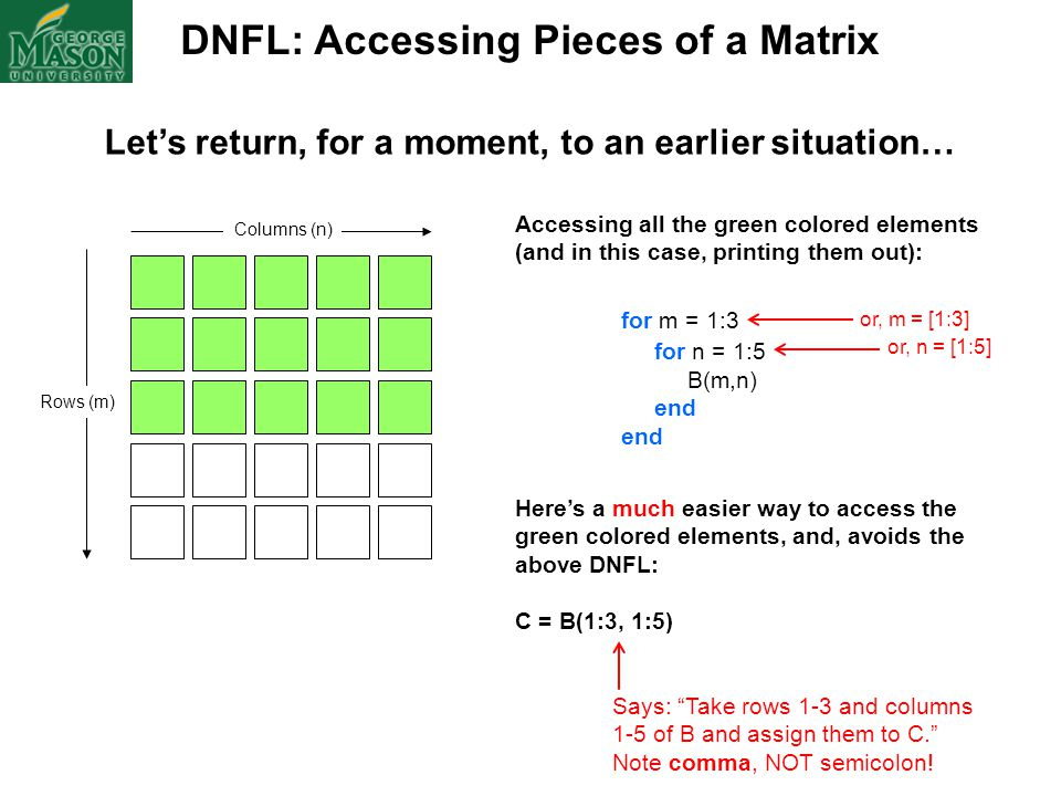 DNFL: Accessing Pieces of a Matrix Columns (n) Rows (m) Accessing all the green colored elements (and in this case, printing them out): for m = 1:3 fo