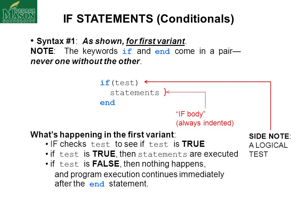 Syntax #1: As shown, for first variant. NOTE: The keywords if and end come in a pair— never one without the other. if(test) statements end What's happ
