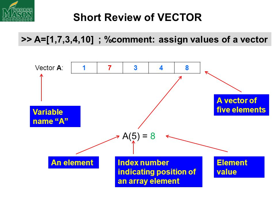 "Vector A: 17348 A(5) = 8 Short Review of VECTOR >> A=[1,7,3,4,10] ; %comment: assign values of a vector Variable name ""A"" A vector of five elements In"