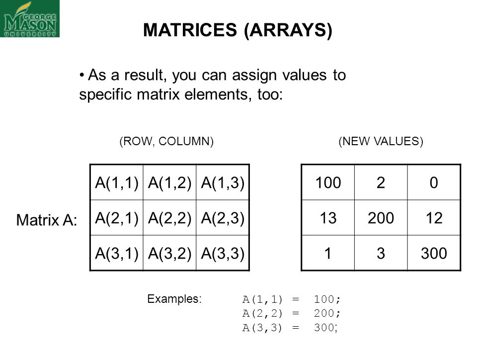 A(1,1)A(1,2)A(1,3) A(2,1)A(2,2)A(2,3) A(3,1)A(3,2)A(3,3) (ROW, COLUMN) As a result, you can assign values to specific matrix elements, too: Matrix A:
