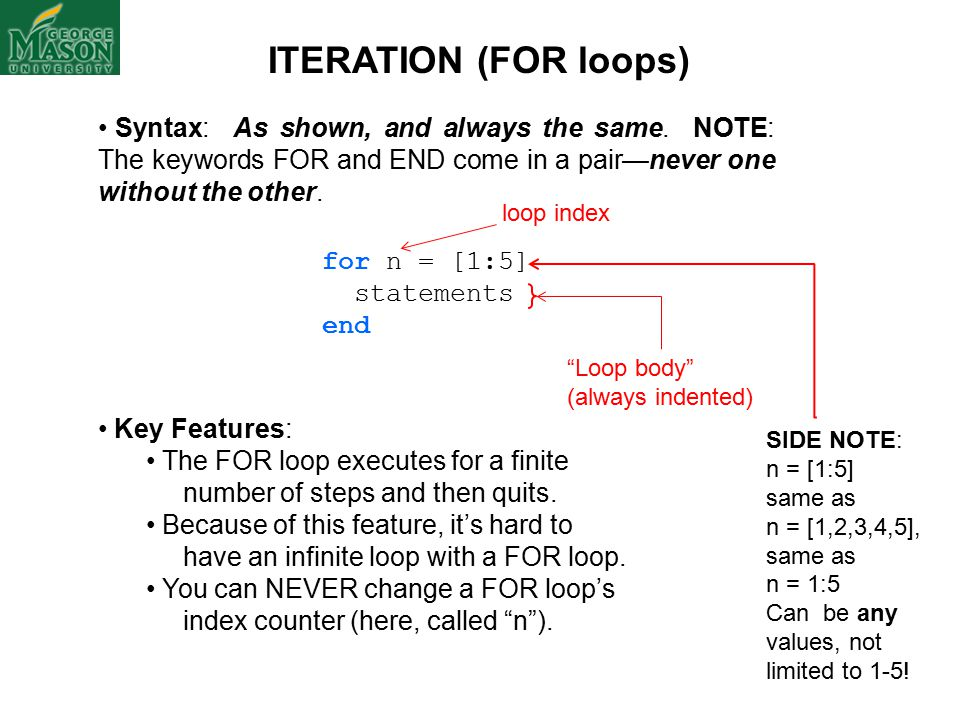 ITERATION (FOR loops) Syntax: As shown, and always the same.