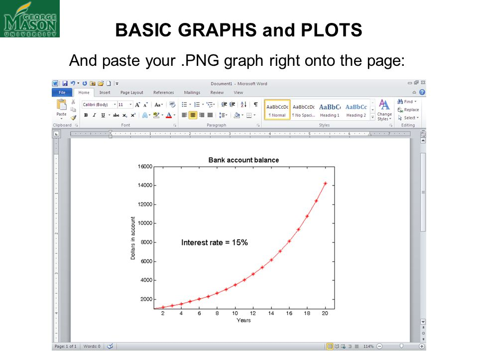 And paste your.PNG graph right onto the page: BASIC GRAPHS and PLOTS