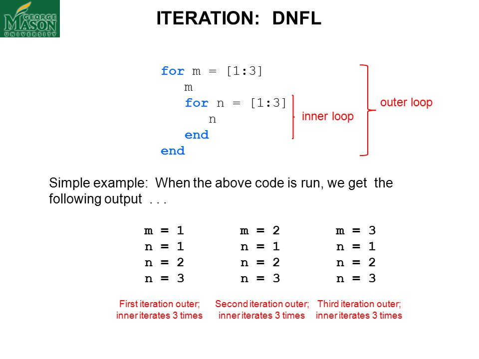 for m = [1:3] m for n = [1:3] n end Simple example: When the above code is run, we get the following output...