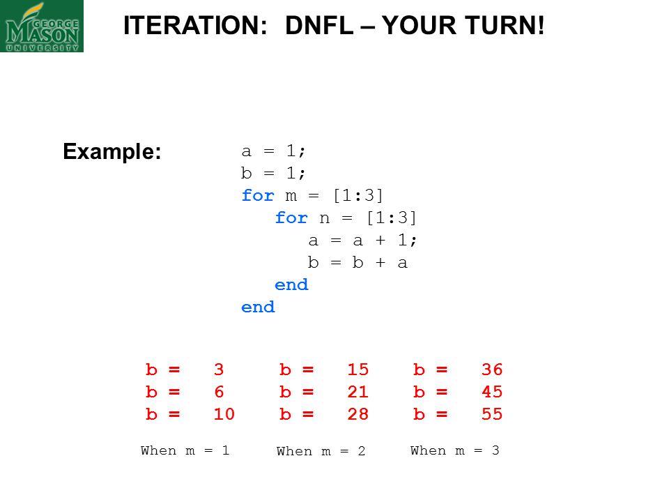 a = 1; b = 1; for m = [1:3] for n = [1:3] a = a + 1; b = b + a end ITERATION: DNFL – YOUR TURN.