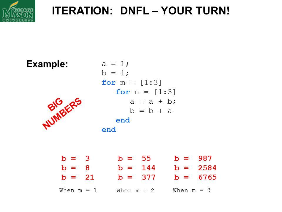 a = 1; b = 1; for m = [1:3] for n = [1:3] a = a + b; b = b + a end ITERATION: DNFL – YOUR TURN.