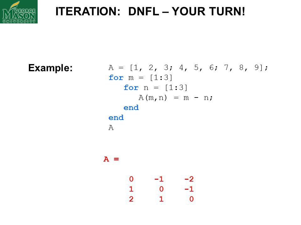 A = [1, 2, 3; 4, 5, 6; 7, 8, 9]; for m = [1:3] for n = [1:3] A(m,n) = m - n; end A ITERATION: DNFL – YOUR TURN.
