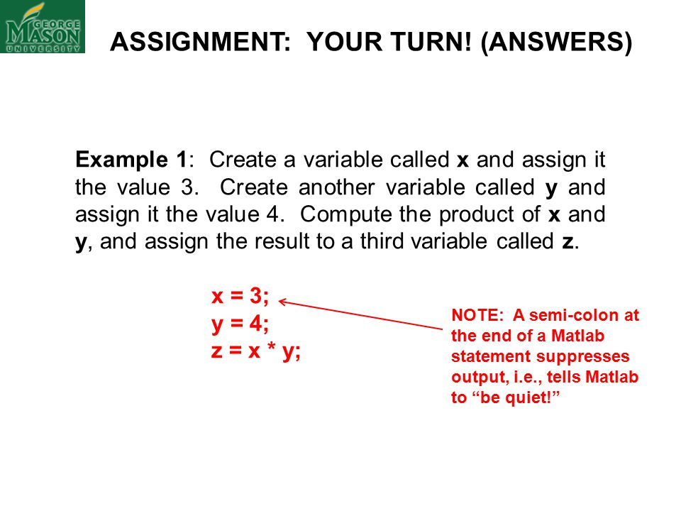 ASSIGNMENT: YOUR TURN. (ANSWERS) Example 1: Create a variable called x and assign it the value 3.