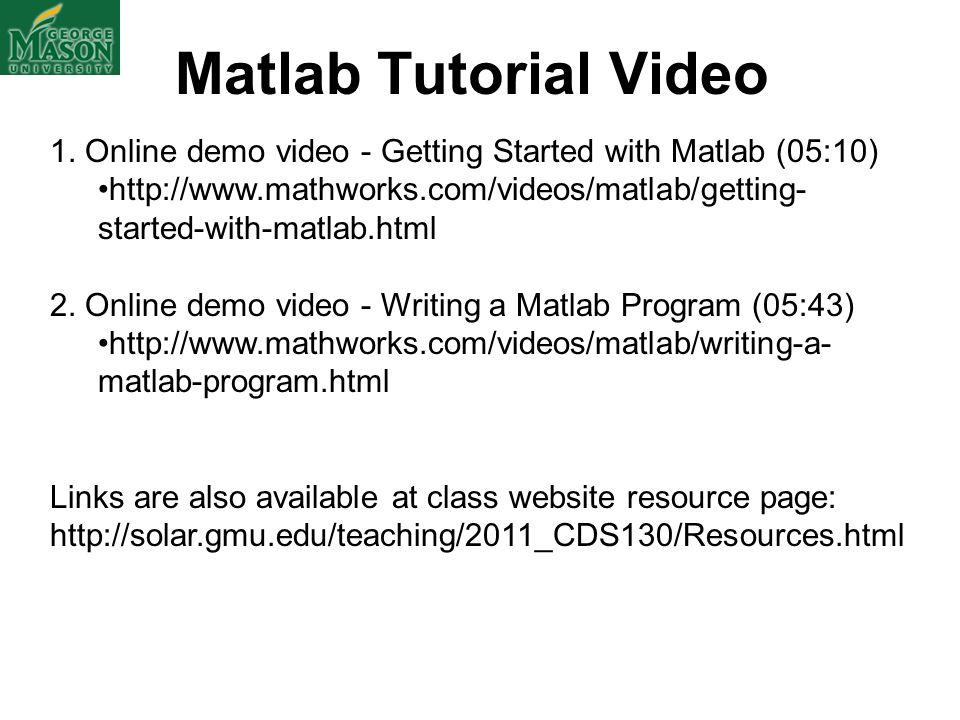 Matlab Tutorial Video 1.