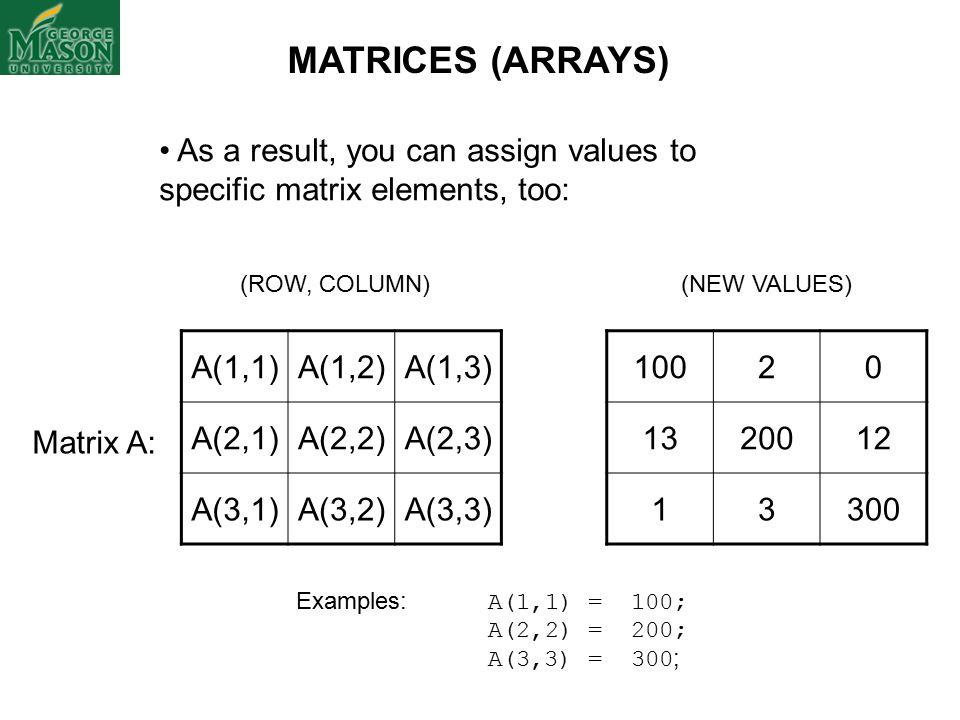 A(1,1)A(1,2)A(1,3) A(2,1)A(2,2)A(2,3) A(3,1)A(3,2)A(3,3) (ROW, COLUMN) As a result, you can assign values to specific matrix elements, too: Matrix A: (NEW VALUES) Examples: A(1,1) = 100; A(2,2) = 200; A(3,3) = 300 ; 10020 1320012 13300 MATRICES (ARRAYS)