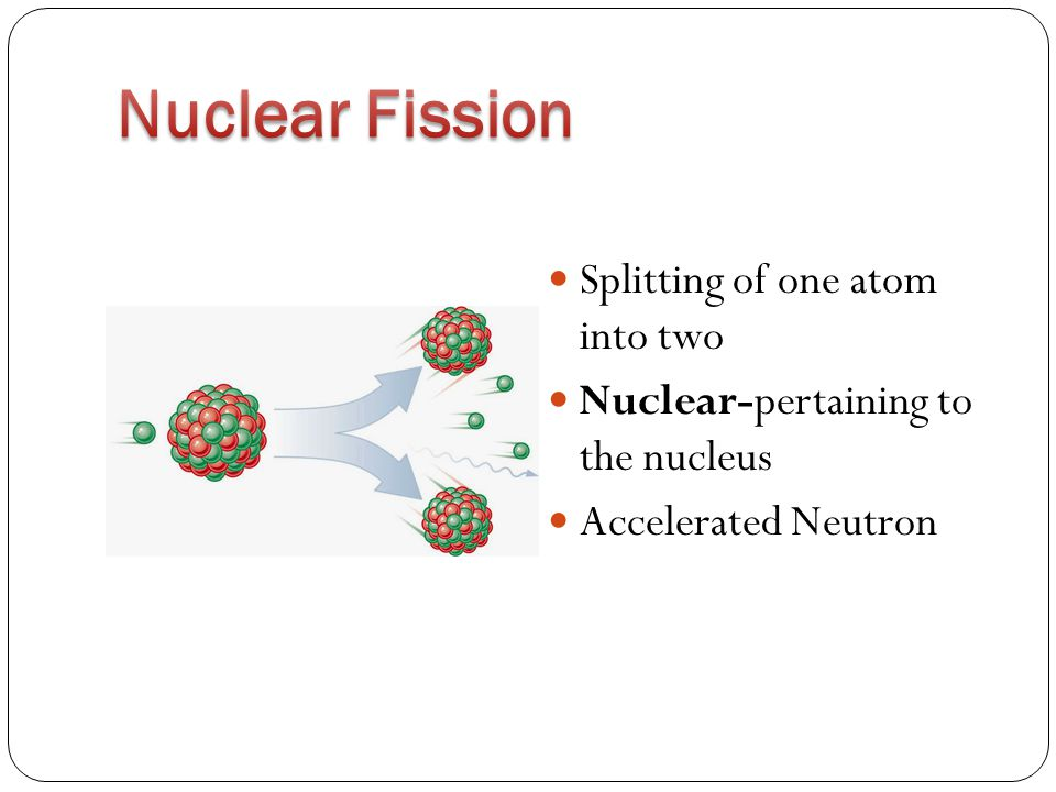 Splitting of one atom into two Nuclear-pertaining to the nucleus Accelerated Neutron