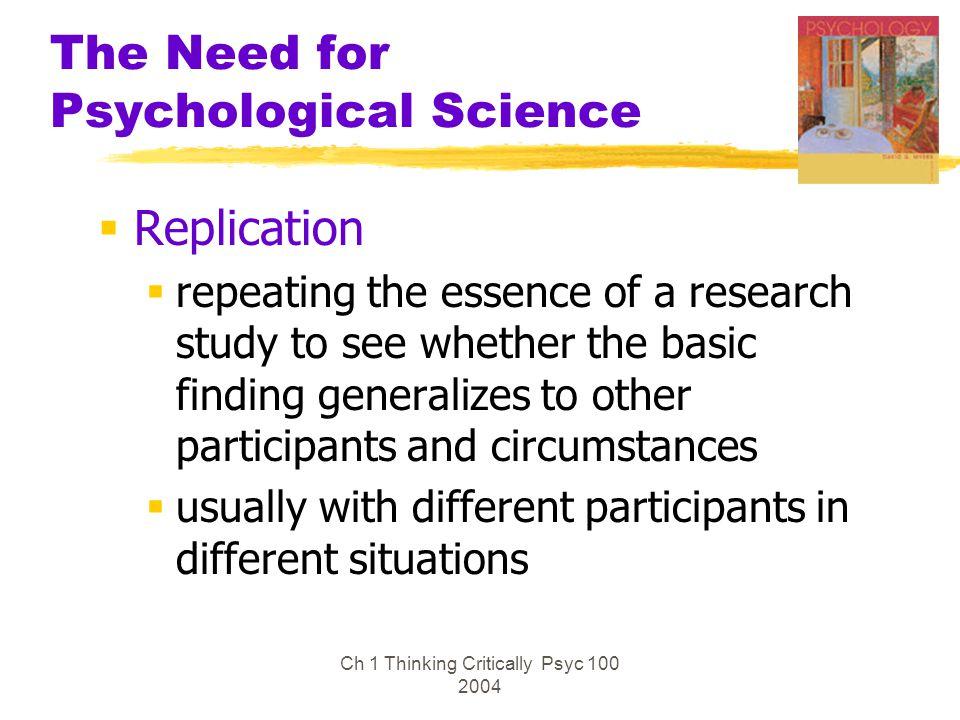 Ch 1 Thinking Critically Psyc 100 2004 Experimentation