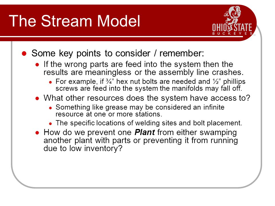 Some key points to consider / remember: If the wrong parts are feed into the system then the results are meaningless or the assembly line crashes.