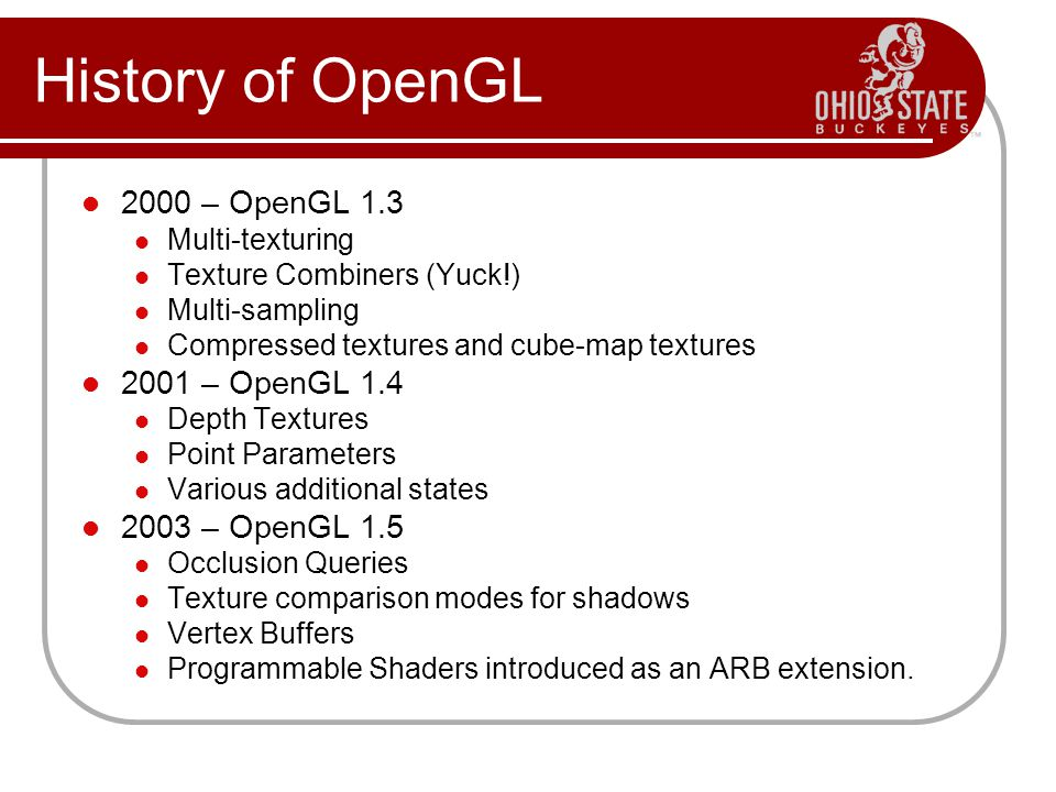2000 – OpenGL 1.3 Multi-texturing Texture Combiners (Yuck!) Multi-sampling Compressed textures and cube-map textures 2001 – OpenGL 1.4 Depth Textures Point Parameters Various additional states 2003 – OpenGL 1.5 Occlusion Queries Texture comparison modes for shadows Vertex Buffers Programmable Shaders introduced as an ARB extension.
