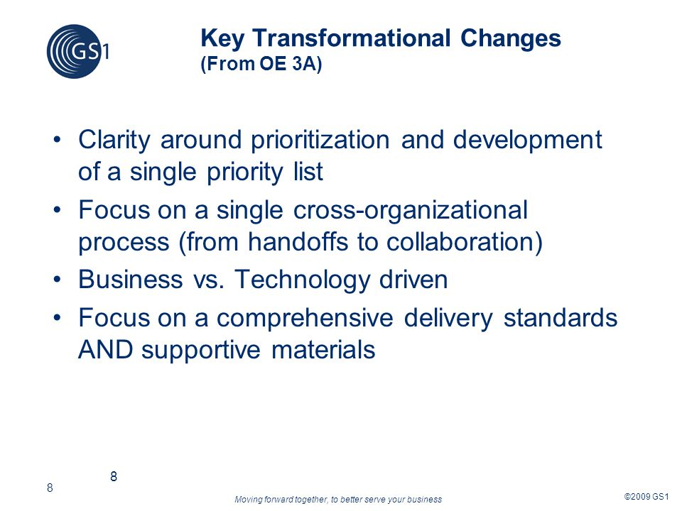 Moving forward together, to better serve your business ©2009 GS1 19 Why do we need an IPP.