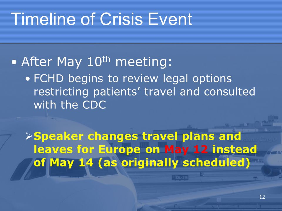 Timeline of Crisis Event After May 10 th meeting: FCHD begins to review legal options restricting patients' travel and consulted with the CDC  Speake